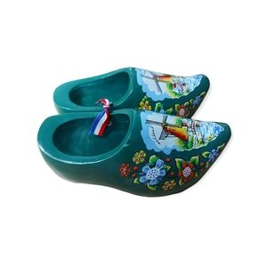 Hand Carved Hand Painted Dutch Children's Wooden Clogs